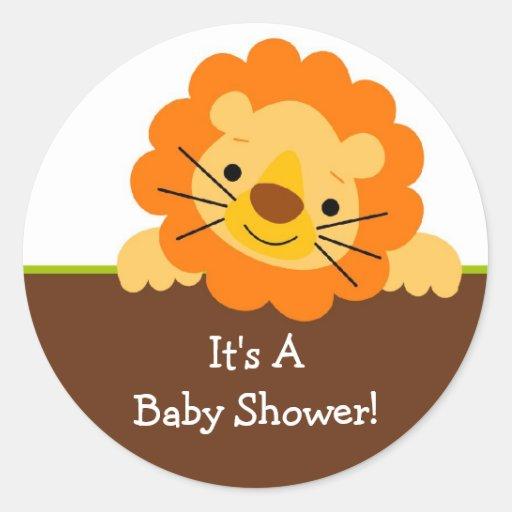 Cute Lion Baby Shower Sticker