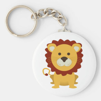 Cute Lion Basic Round Button Key Ring