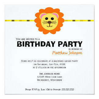 Cute Lion Birthday Party Invitation