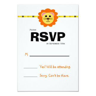 Cute Lion Birthday Party RSVP Card 9 Cm X 13 Cm Invitation Card