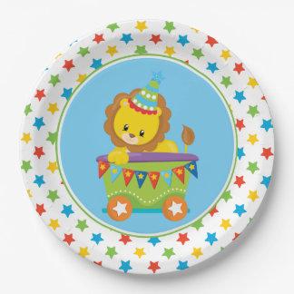 Cute Lion   Circus Train   Circus Theme 9 Inch Paper Plate