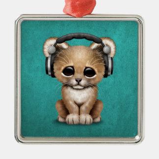 Cute Lion Cub Dj Wearing Headphones on Blue Christmas Ornament
