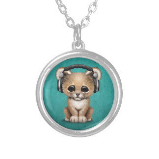 Cute Lion Cub Dj Wearing Headphones on Blue Silver Plated Necklace