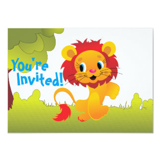 Cute Lion Cub First Birthday Party Invitation