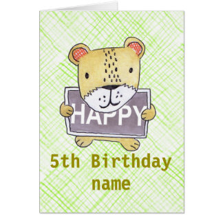 cute Lion cub green customisable card