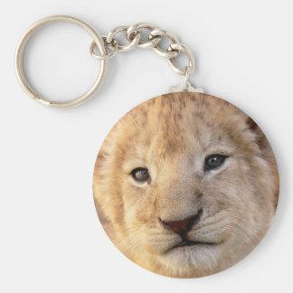 Cute lion cub portrait key ring