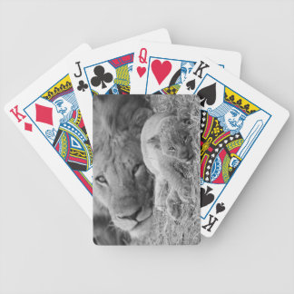 Cute Lion Cub Resting With Father Bicycle Playing Cards