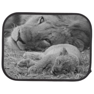 Cute Lion Cub Resting With Father Car Mat
