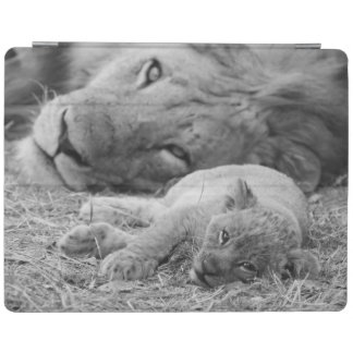 Cute Lion Cub Resting With Father iPad Cover