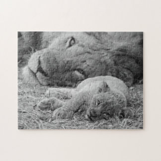 Cute Lion Cub Resting With Father Jigsaw Puzzle