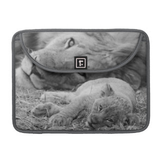 Cute Lion Cub Resting With Father Sleeve For MacBooks