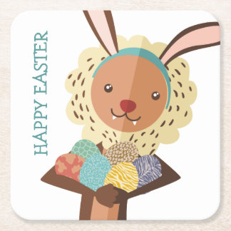 Cute lion Easter Bunny ears animal print eggs Square Paper Coaster