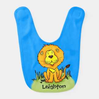 Cute lion graphic art add your name Baby bib