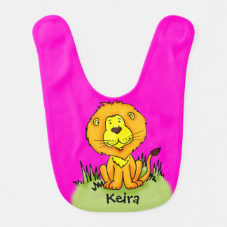 Cute lion graphic art pink add your name Baby bib