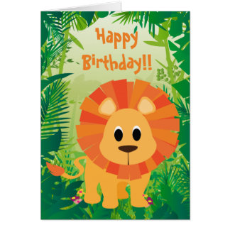 Cute Lion Happy Birthday Card