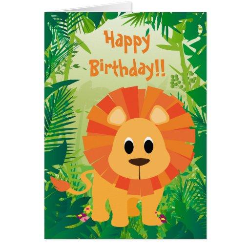 Cute Lion Happy Birthday Cards