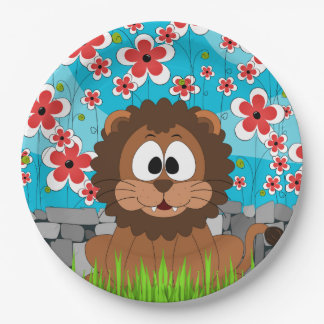 Cute Lion in Spring Paper Plate
