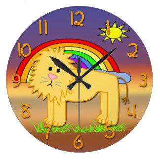 Cute Lion Kid's Round Wall Clock