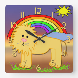 Cute Lion Kid's Square Wall Clock