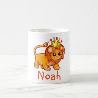 Cute Lion King Crown Jungle Animal Kids Name Mug