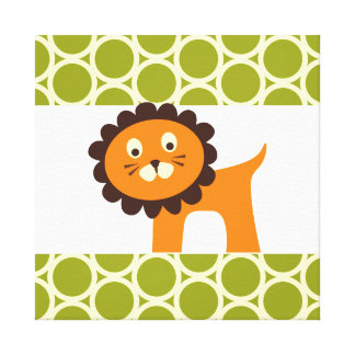 Cute Lion on Green Pattern Gifts for Kids Canvas Prints