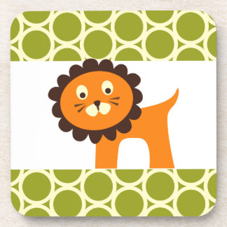 Cute Lion on Green Pattern Gifts for Kids Coaster