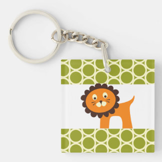 Cute Lion on Green Pattern Gifts for Kids Double-Sided Square Acrylic Key Ring
