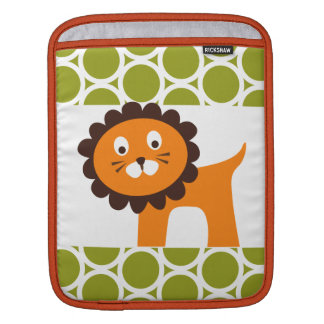 Cute Lion on Green Pattern Gifts for Kids Sleeves For iPads