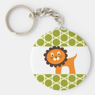 Cute Lion on Green Pattern Gifts for Kids Basic Round Button Key Ring