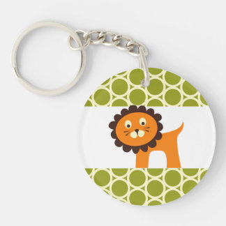 Cute Lion on Green Pattern Gifts for Kids Double-Sided Round Acrylic Key Ring