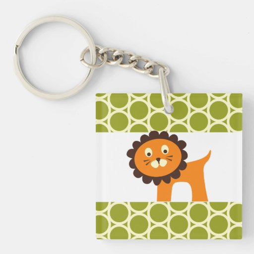 Cute Lion on Green Pattern Gifts for Kids Acrylic Key Chain