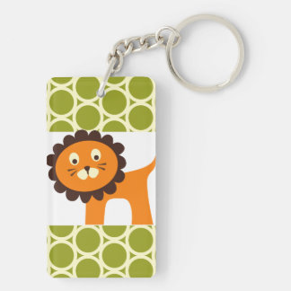 Cute Lion on Green Pattern Gifts for Kids Double-Sided Rectangular Acrylic Key Ring