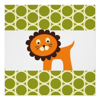 Cute Lion on Green Pattern Gifts for Kids Posters
