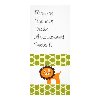 Cute Lion on Green Pattern Gifts for Kids Customized Rack Card