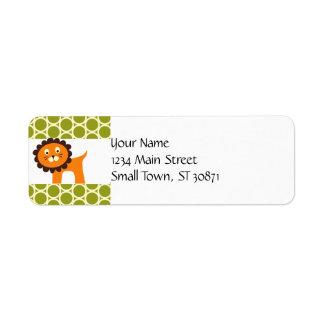 Cute Lion on Green Pattern Gifts for Kids Return Address Label