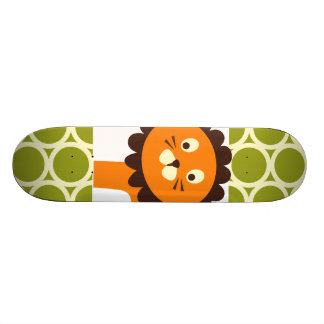 Cute Lion on Green Pattern Gifts for Kids Skate Deck