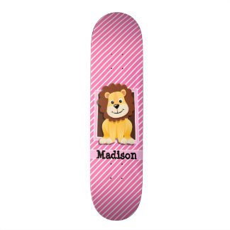 Cute Lion on Pink & White Stripes Custom Skate Board