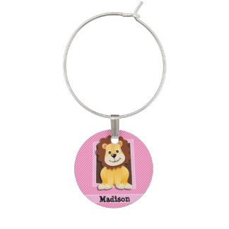 Cute Lion on Pink & White Stripes Wine Charm