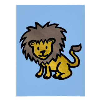 Cute Lion Print Poster