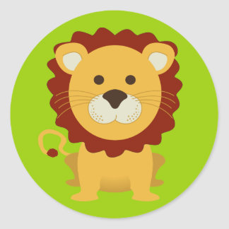 Cute Lion Round Sticker