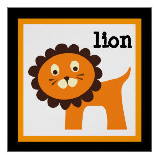Cute Lion Safari Animals Baby Nursery Kids Poster