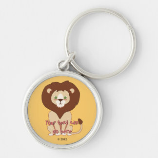 Cute Lion Silver-Colored Round Key Ring