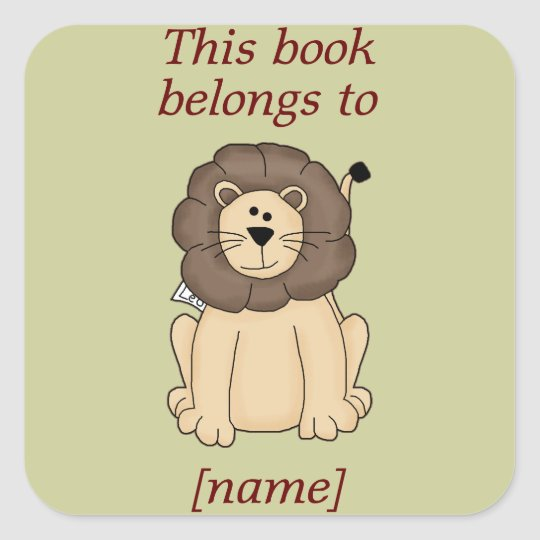 Cute Lion This Book Belongs To Book Plate