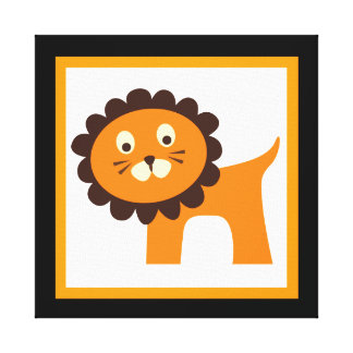 Cute Lion Wrapped Canvas Kids Wall Decor Baby Gallery Wrap Canvas