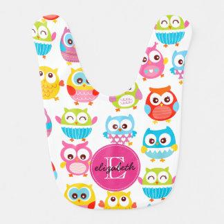 Cute Litte Owls Monogrammed Baby Bib