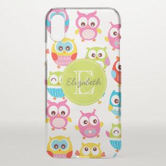 Cute Litte Owls Monogrammed iPhone X Case