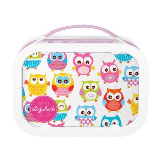 Cute Litte Owls Monogrammed Lunch Box