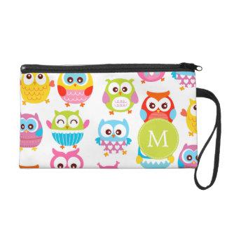 Cute Litte Owls Monogrammed Wristlet Clutches
