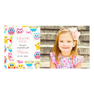 Cute Litte Owls Photo Any Occasion Thank you Photo Cards
