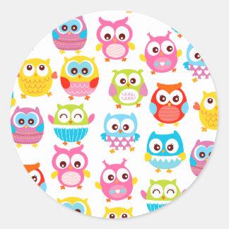 Cute Litte Owls Round Sticker